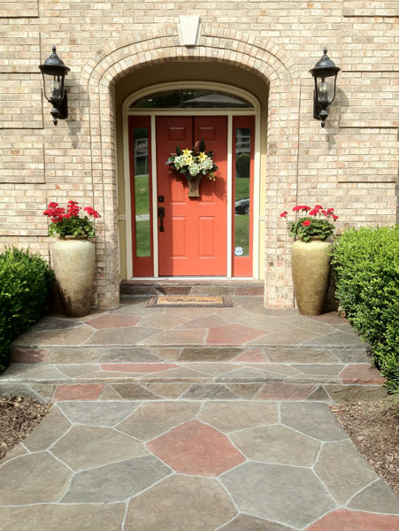 A repaired concrete entryway