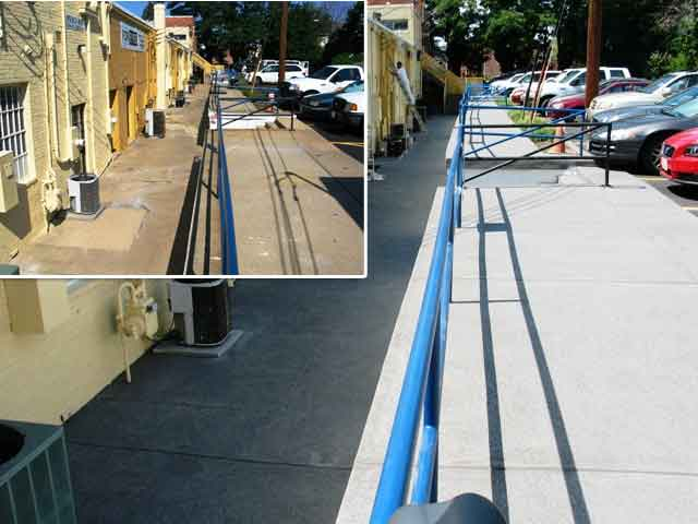 Retail Walkway with resurfaced and restored concrete