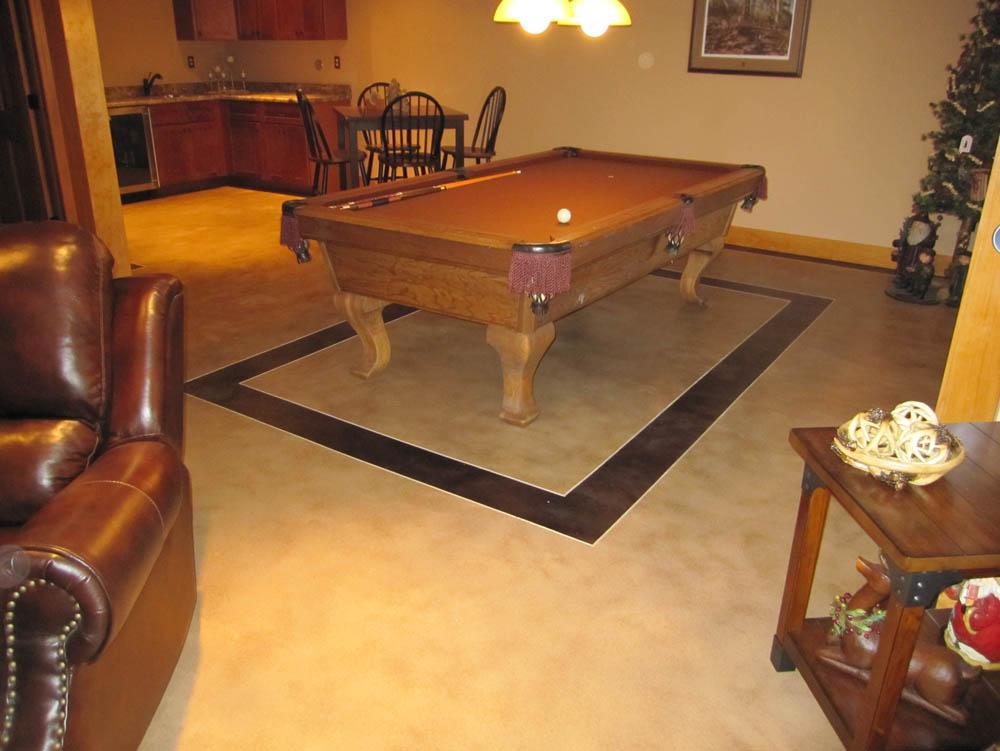Decorative concrete floor in residence