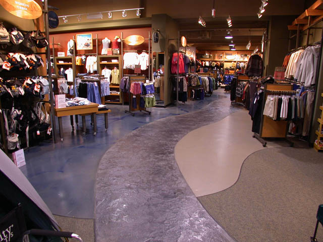 Stamped concrete path in Store