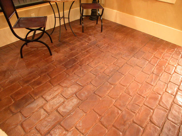 Interior stamped concrete cobblestone