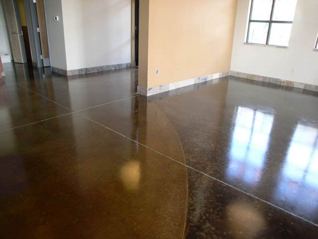 Stained concrete coffee shop floor