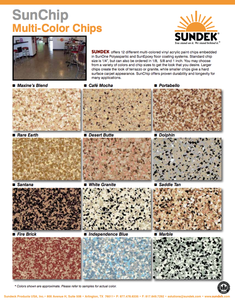 SunChip Color Chart for Epoxy Coatings